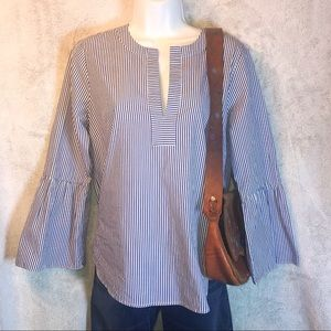 J Crew blue & white striped bell sleeve top sz 4